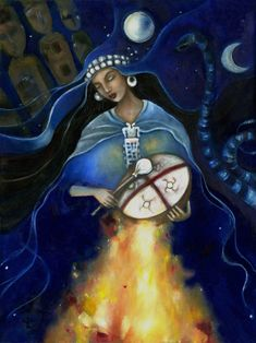 Kuyén Goddess of the Mapuche art on canvas Ancestor Altar Goddess Art, Moon Goddess, Native Art, Native American Art, Arte Latina, Shaman Woman, Sacred Feminine, Tambour, Moon Art
