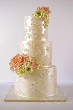 Pearl & Lace Wedding Cake by MilenaChanova - http://cakesdecor.com/cakes/269812-pearl-lace-wedding-cake