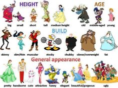 Adjectives describing 'Height', 'Age', 'Build', 'General appearance'.
