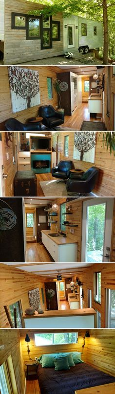 From Michigan-based KMH Concepts is tinyhaus, a 35' fifth wheel tiny house. The tinyhaus is 320-square-feet and focuses on maximizing storage space.