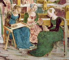Needleworkers, detail from 'The Triumph of Minerva: March', Room of the Months, c.1467-70 (fresco) (detail of 266282)