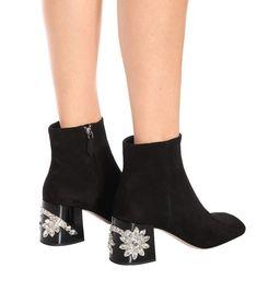 Miu Miu Black embellished suede ankle boots