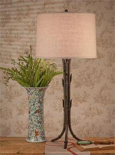 BRONZE BAMBOO LAMP W/CREAM SHADE
