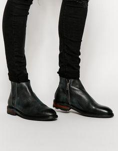 Shop Selected Homme Bob Cuban Heel Zip Boots at ASOS. Villiam Zipper Leather  Chelsea Boot Scotchgrain