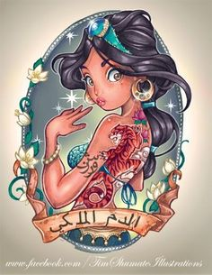 Disney Pin Up Tattoos I am a big fan of Tattoos and these designs are amazing! Tim Shumate has turned well known Disney Princesses in. Disney Pin Up, Disney Love, Disney Magic, Disney Art, Walt Disney, Punk Disney, Disney Girls, Princesa Disney Jasmine, Disney Princess Jasmine
