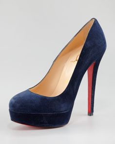 Blue Suede Wedding Shoe: Louboutin Bianca Suede Platform Red Sole Pump - Neiman Marcus