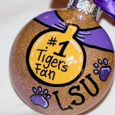 Holiday Christmas Ornament  1 Tigers Fan  LSU by RhythmsofGraceArt