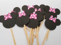 Mickey Minnie Mouse Cupcake Toppers Minnie by PartyPaperPlace, $6.50