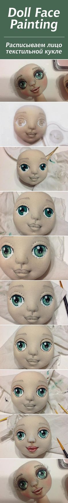 cloth doll face painting not in English but easy to understand, love the eyelashes Doll Face Paint, Doll Painting, Mask Painting, Bjd Doll, Clay Dolls, Doll Clothes Patterns, Doll Patterns, Fabric Dolls, Paper Dolls