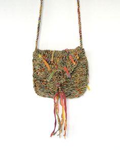 Living on the Fringe - Green Hippie Bag - Handknit Crossbody Pouch $28