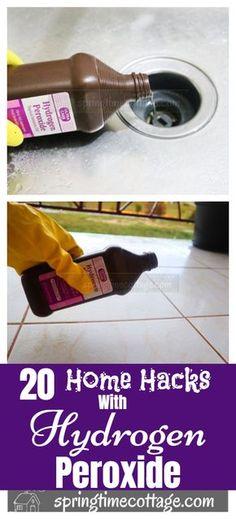 , Hydrogen peroxide is a cleaner and a good alternative to most household chemical. , Hydrogen peroxide is a cleaner and a good alternative to most household chemicals sold on the market. Use hydrogen peroxide to clean all sorts of hous. Diy Home Cleaning, Bathroom Cleaning Hacks, Homemade Cleaning Products, Household Cleaning Tips, Cleaning Recipes, House Cleaning Tips, Natural Cleaning Products, Deep Cleaning, Household Items