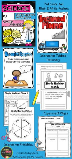 Simple Machines Science Interactive Notebooks with experiments from Chalk One Up for the Teacher