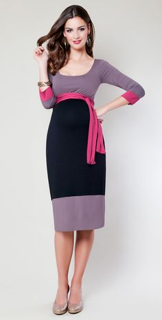 Colour Block Maternity Dress (Truffle) - Maternity Wedding Dresses, Evening Wear and Party Clothes by Tiffany Rose