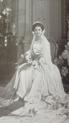1929 Wedding The daughter of the Bolivian minister to France, resplendent in a 1929 Patou-designed wedding gown made from acres of satin trimmed with hand-embroidered seed pearls and strass (crystal). The family heirloom veil of point d'angleterre, the bride's 'something old', was vintage even then!