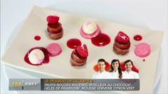 Emotion chocolatée agrumes, croustillant praliné, parfait framboise, le tout marié aux fruits rouges