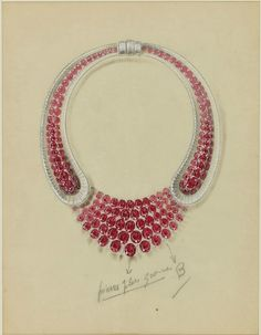 Van Cleef & Arpels & René-Sim Lacaze, Study for an important necklace, 1939.  © Sotheby's
