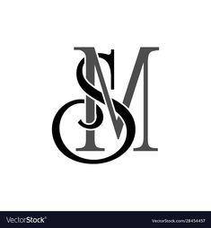 Initial letters sm monogram logo vector image on VectorStock Fancy Letters, Initial Letters, Letter Logo, Graffiti Lettering, Lettering Design, Logo Design, Branding Design, Initials Logo, Monogram Logo