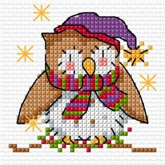 Cute Christmas owl in cross stitch - free downloadable chart