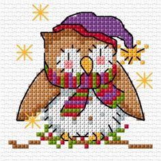Cute Christmas owl in cross stitcj