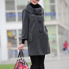 quarter sleeve wool coat