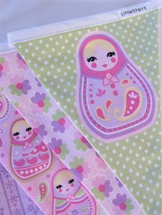 Girls Room - Fabric Babushka Doll Bunting - Pastel Colours - 3m | by LittleStarrs | Madeit.com.au |