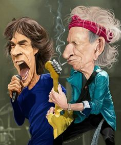 The Rolling Stones. Mick Jagger and Keith Richards Funny Caricatures, Celebrity Caricatures, Celebrity Drawings, Cartoon Faces, Funny Faces, Cartoon Art, Caricature Artist, Caricature Drawing, Keith Richards