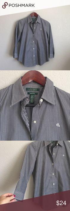Ralph Lauren Oxford Non-iron, 3/4 length sleeves. Excellent condition! Ralph Lauren Tops Button Down Shirts