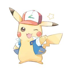 Aww cute artwork of Pikachu dressing up as Ash :)
