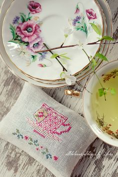 Tea Time - from Veronique Enginger book Chocolat, the, cafe, Lavender Sachet, DMC White Linen 32ct, NinaNinocska Silk, Madeira Silk