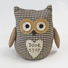 Vintage Owl Doorstops – Shabby Chic Beige & Chocolate Weighted Fabric Door Stop