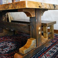 images of rustic dining tables | Black Mountain Reclaimed Rustic Trestle Dining Table - NC Rustic