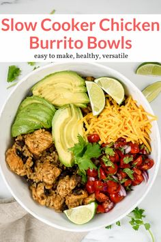 This delicious one pot cajun chicken burrito bowl is healthy easy and packed with flavor. Topped with pico de gallo cheddar cheese and avocado. A delicious dinner this healthy recipe from Slender Kitchen has 9 Weight Watchers Freestyle SmartPoints. Chicken Burrito Bowl, Chicken Burritos, Burrito Bowls, Vegetarian Recipes, Healthy Recipes, Mexican Recipes, Skinny Recipes, Healthy Meals, Delicious Recipes