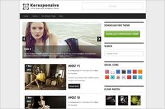 Koresponsiv is a free WordPress Theme from Kore that comes with a fully responsive design meaning that the layout will adapt and scale so your theme,, Free Magazines, Social Icons, Wordpress Theme, How To Look Better, Digital, Blog, Website Designs, Blogging, Design Websites