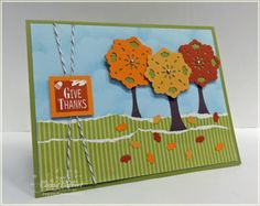 Fall Trees Punch Art - uses Doily Triple Layer punch for treetops and Large Oval punch for tree trunks.