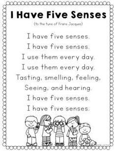 Alphabet Sensory Activities for Kids - Color the Moon , Five Senses Preschool, Preschool Poems, My Five Senses, Senses Activities, Kindergarten Songs, Preschool Learning Activities, Preschool Curriculum, Preschool Science, Preschool Lessons