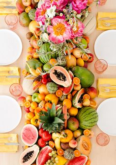 Let There Be Fruit, Veggies, and Peonies: A Fresh Summer Party with More DIY…