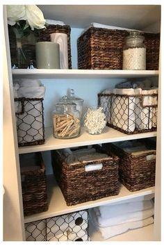 Bathroom Closet Organization, Bathroom Storage Solutions, Small Space Organization, Closet Storage, Smart Storage, Diy Storage, Storage Ideas, Storage Baskets, Paper Storage