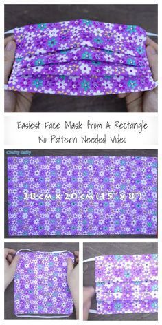 Sewing Hacks, Sewing Tutorials, Sewing Crafts, Small Sewing Projects, Free Tutorials, Creeper Minecraft, Easy Face Masks, Homemade Face Masks, Diy Couture