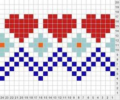 35 Super Ideas For Knitting Charts Heart Patterns Tapestry Crochet Patterns, Fair Isle Knitting Patterns, Crochet Motifs, Knitting Charts, Crochet Chart, Knitting Designs, Knitting Stitches, Knitting Projects, Cross Stitch Borders