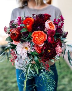 Hottest 7 Spring Wedding Flowers to Rock Your Big Day---Burgundy orange and pink bridal bouquet DIY wedding flowers bridal bouquet wedding bouquet romantic florals Diy Bouquet Mariage, Bouquet Bride, Bridal Bouquet Pink, Diy Wedding Bouquet, Spring Wedding Flowers, Floral Wedding, Wedding Colors, Trendy Wedding, Wedding Ideas