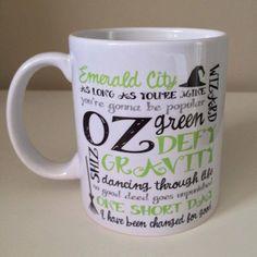 Wicked musical fan 11oz mug /birthday gift / wizard of oz / gift for her / fab mug / wicked by SugarPlumPrintsHQ on Etsy https://www.etsy.com/listing/460658852/wicked-musical-fan-11oz-mug-birthday