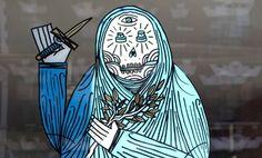 "Manuel Osterholt aka SuperBlast paints his new piece entitled ""Speaking Through Walls"" for The Avant/Garde Diaries. Berlin, Cyan Blue, Religious Symbols, Street Artists, Diaries, 2d, Mercedes Benz, Graffiti, Walls"