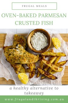 Enjoy a cheaper and healthier fish and chips at home with this delicious oven-Parmesan crusted oven-baked fish. #budgetmeals #frugalfood Frugal Recipes, Healthy Recipes On A Budget, Frugal Meals, Homemade Fish And Chips, Parmesan Crusted Fish, Oven Baked Fish, Frugal Family, Cheap Dinners, Fried Fish