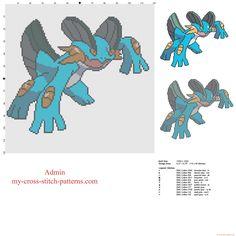 Swampert Pokemon third generation number 260 free cross-stitch pattern