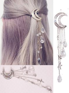 Mondkristall Quasten Haarspangen - Pinces à cheveux en cristal de bouche # cheveux You are in the rig - Cute Jewelry, Hair Jewelry, Jewelry Accessories, Jewelry Design, Fashion Jewelry, Moon Jewelry, Witch Jewelry, Tassel Jewelry, Fashion Hair