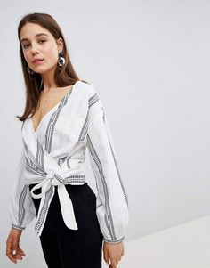 e5b52cfd7c4 New Look Dash Stripe Tie Side Blouse Asos Fashion
