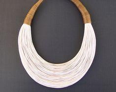 Statement Fiber Necklace Cotton Necklace by superlittlecute