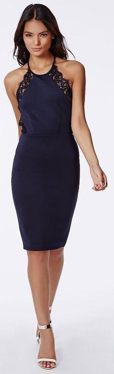 Party dresses under $150: Missguided Juliet Scuba Lace Trim Midi Dress