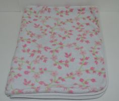 """Carters Baby Security Blanket Pink Floral Fleece Solid Back 30"""" x 37"""" #Carters http://stores.ebay.com/Lost-Loves-Toy-Chest/_i.html?image2.x=23&image2.y=9&_nkw=baby+blanket"""