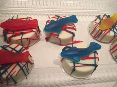 Dr. Seuss themed chocolate covered Oreos